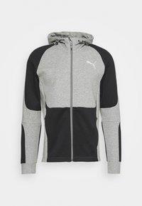 EVOSTRIPE HOODIE - Mikina na zip - medium gray heather