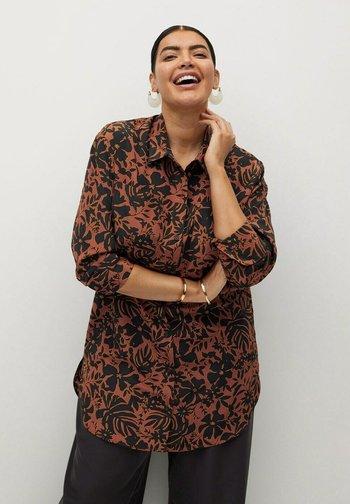 Button-down blouse - karamell