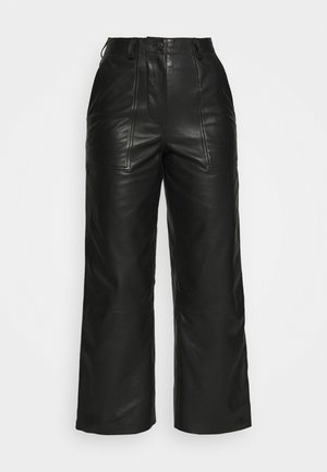 PRESLEY PANTS - Leather trousers - black