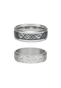 Topman - PINKY ETCHED RING SET - Anello - silver-coloured - 2