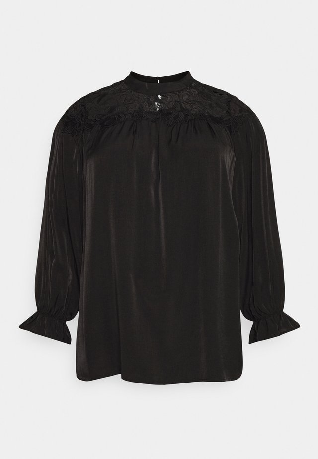 BROIDERY TRIM BLOUSE WITH LONG SLEEVES AND HIGH-NECK  - Bluzka - black
