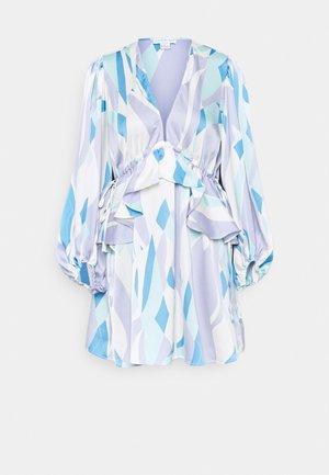 RETRO SWIRL MINI DRESS - Denní šaty - blue