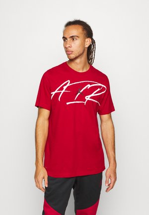 SCRIPT AIR CREW - Print T-shirt - gym red/white/black