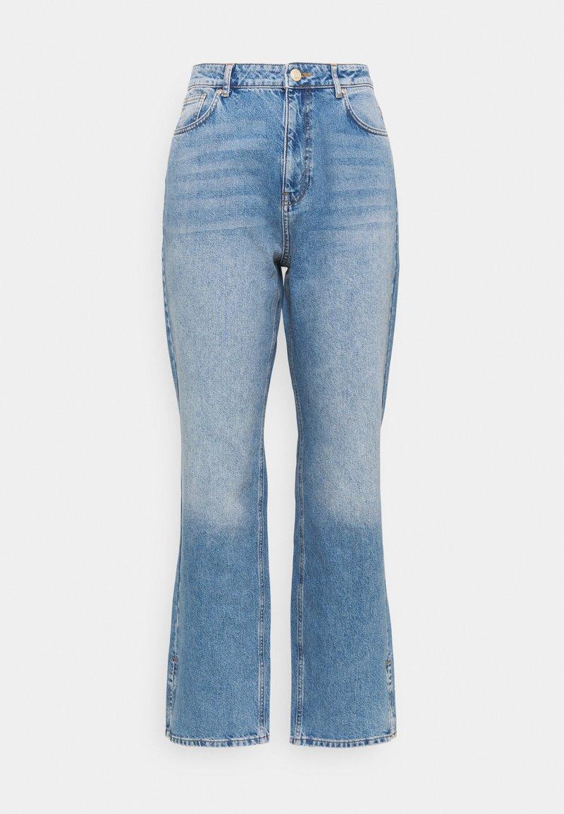 Simply Be - SPLIT HEM  - Straight leg jeans - stone blue denim
