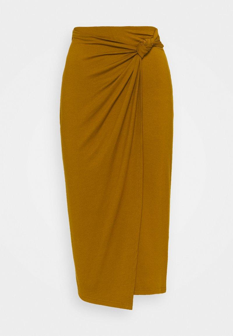 Anna Field - CLASSIC Front knot midi skirt - Pennkjol - brown
