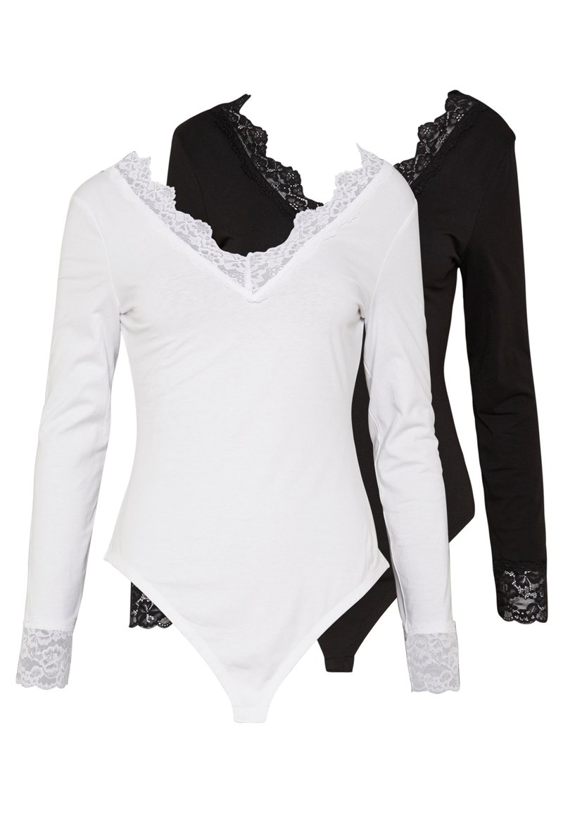 Anna Field - 2 Pack - Long sleeved top - white/ black