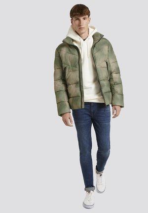 Winter jacket - green blurry print