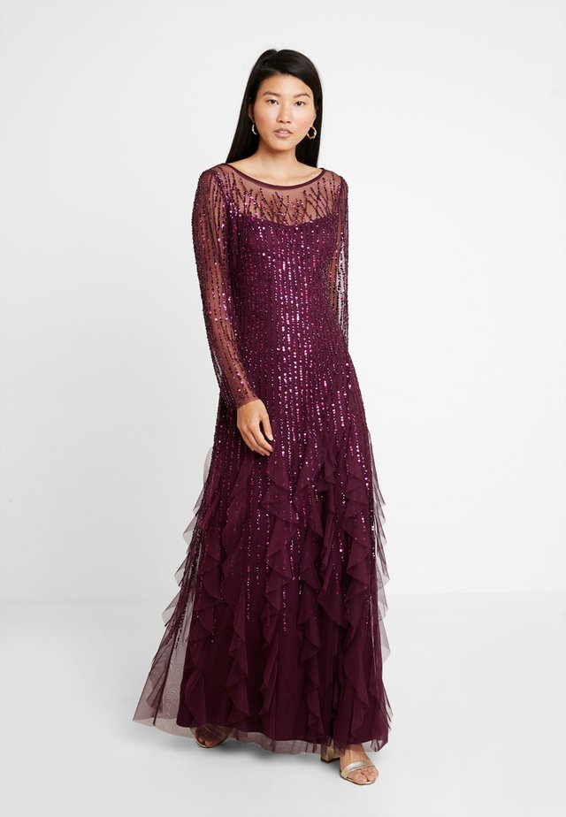 BEADED LONG DRESS - Vestido de fiesta - cassis