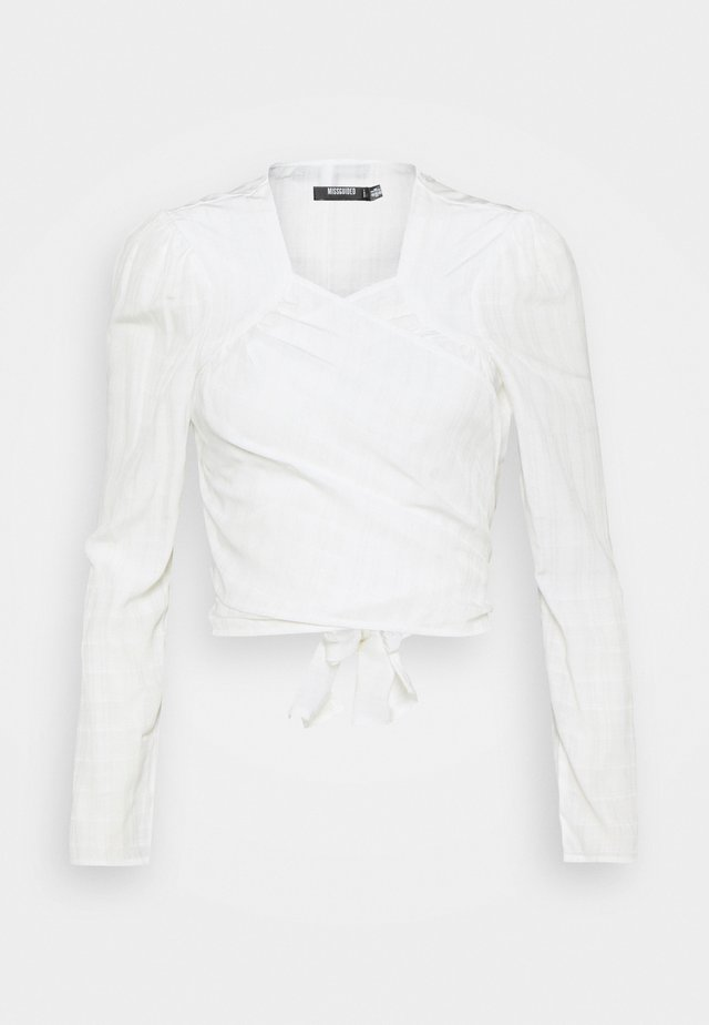 TIE FRONT BLOUSE - Long sleeved top - white
