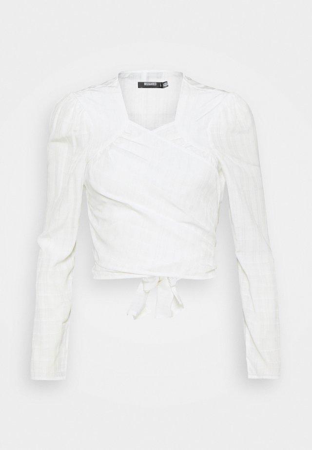 TIE FRONT BLOUSE - Langærmede T-shirts - white