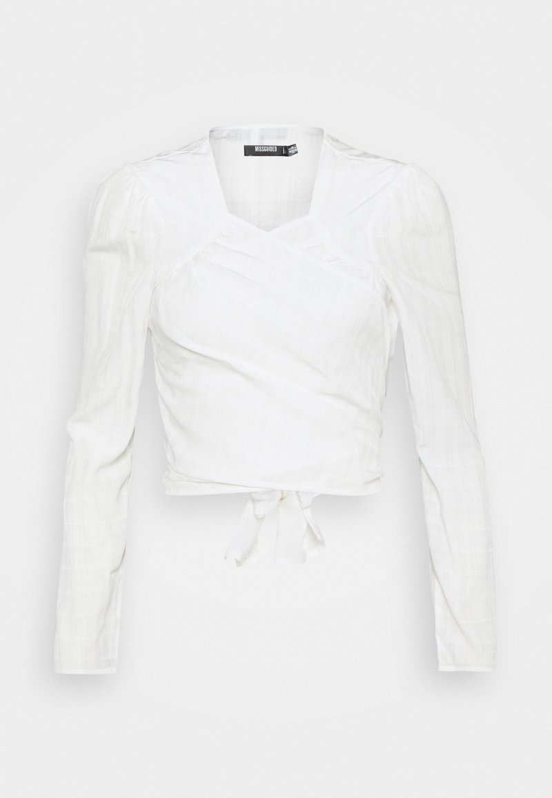 Missguided - TIE FRONT BLOUSE - Long sleeved top - white
