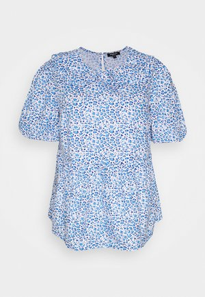 ANIMAL COLLARED PEPLUM PUFF SLEEVE - Print T-shirt - blue