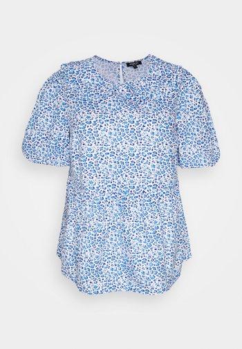 ANIMAL COLLARED PEPLUM PUFF SLEEVE - Print T-shirt - blue
