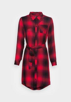 ONLRILEY LIFE CHECK DRESS - Shirt dress - mineral red