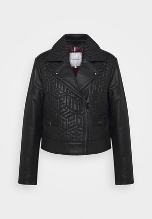 QUILTED BIKER - Leather jacket - black