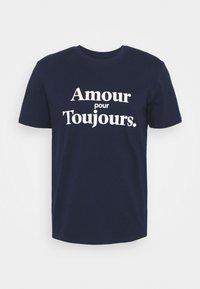 Les Petits Basics - AMOUR POUR TOUJOURS UNISEX - T-shirt con stampa - navy/white - 0