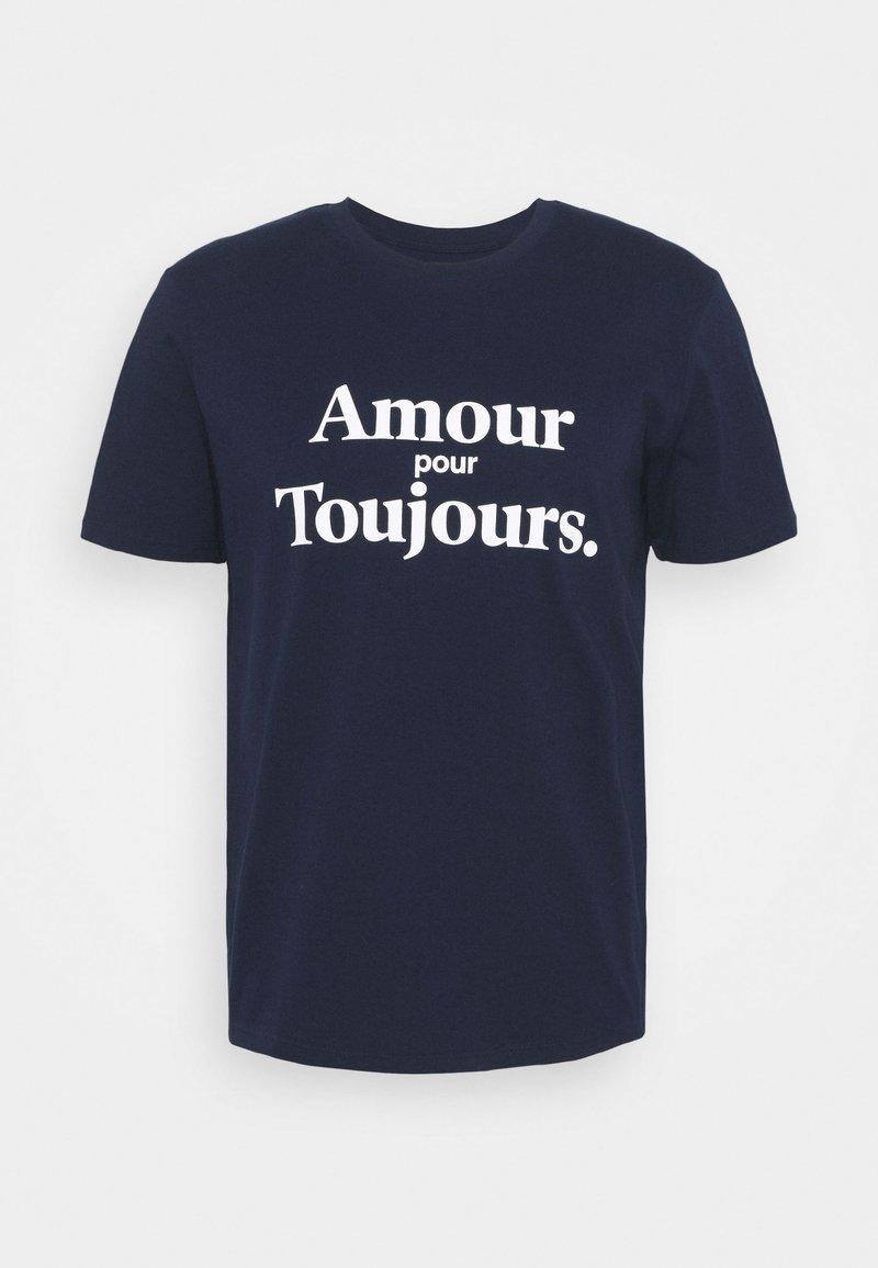 Les Petits Basics - AMOUR POUR TOUJOURS UNISEX - T-shirt con stampa - navy/white