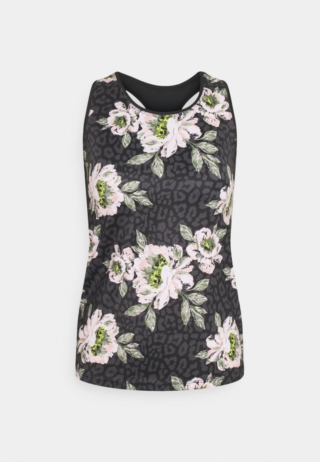 TANK SLIM FIT BLOOMING - Top - black