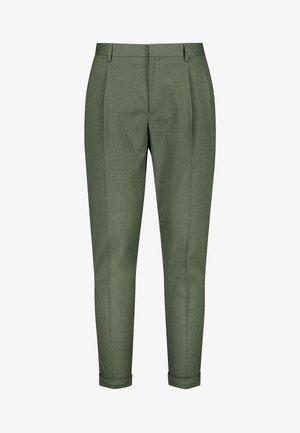 KHAKI FASHION PLEAT FIT TWIN PLEAT FORMAL TROUSERS - Trousers - green