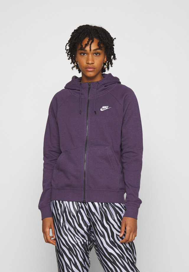 Zip-up hoodie - dark raisin/white