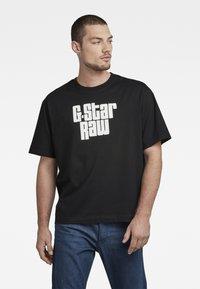 G-Star - UNISEX RADIO BOXY R T - Print T-shirt - dry jersey o - dk black - 2