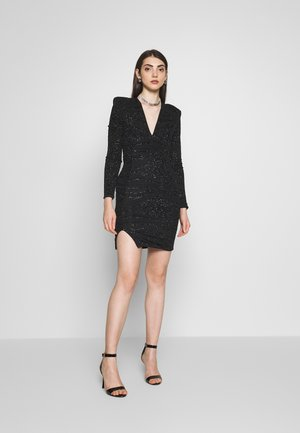PLUNGE SPARKLE MINI DRESS WITH THIGH SPLIT - Cocktail dress / Party dress - black