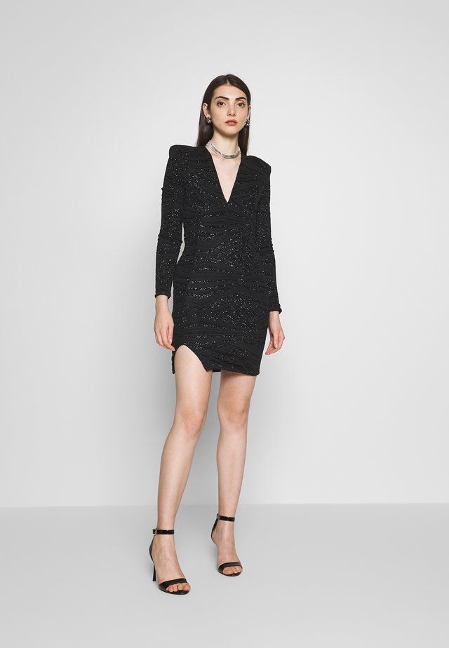PLUNGE SPARKLE MINI DRESS WITH THIGH SPLIT - Robe de soirée - black