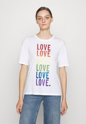 RAINBOW LOVE TEE - Print T-shirt - fresh white