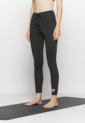LACED FRONT LEGGING - Punčochy - black