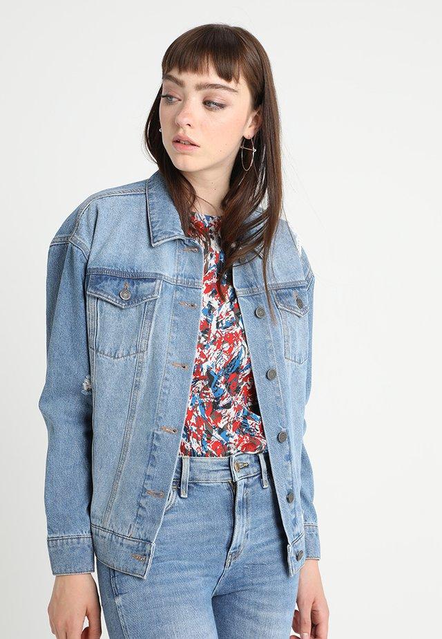 NMANGIE SHORT RAINBOW - Denim jacket - medium blue denim