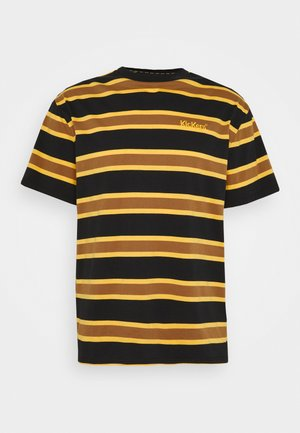 STRIPE SLEEVE TEE - T-shirt med print - black / brown