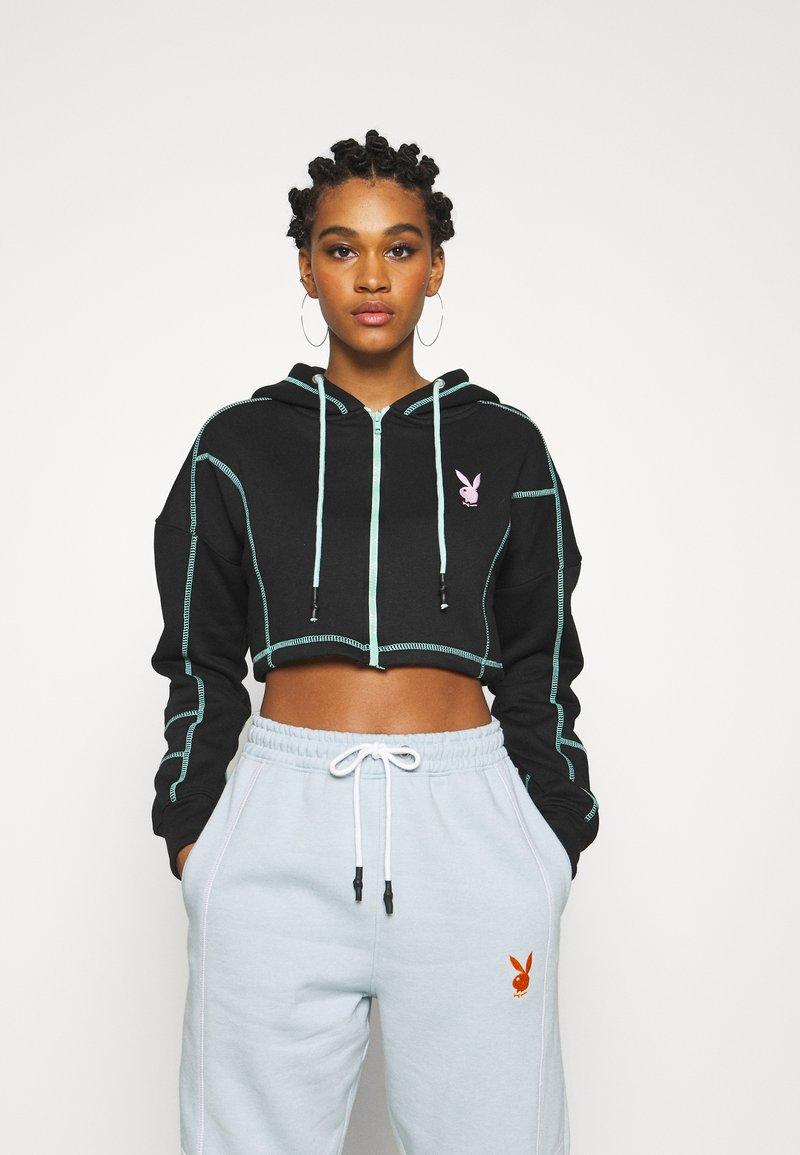 Missguided - PLAYBOY ZIP THROUGH CONTRAST STITCH CROP HOODY - Zip-up hoodie - black