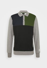 HALF PLACKET  - Sudadera - grey/black/green