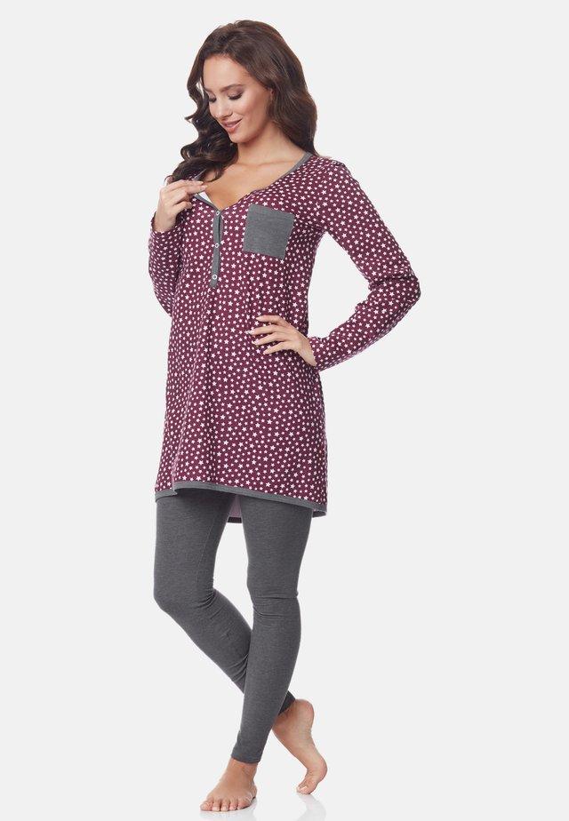Pyjama - burgundy-Stars-Grey