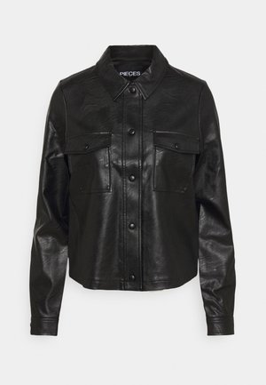 PCPAIA SHORT SHACKET - Faux leather jacket - black