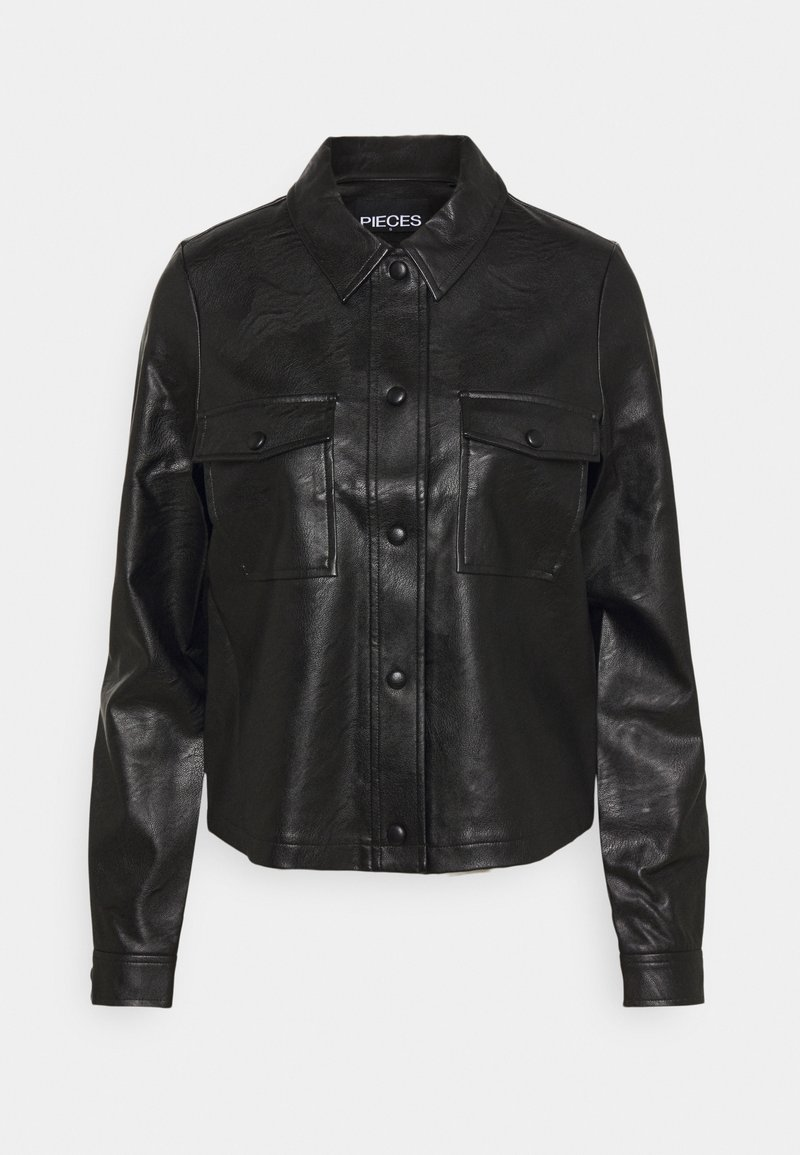 PIECES Tall - PCPAIA SHORT SHACKET - Faux leather jacket - black