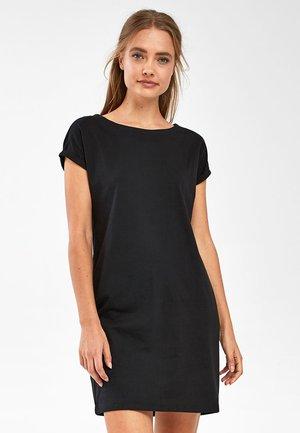BLACK JERSEY BOXY T-SHIRT DRESS - Day dress - black