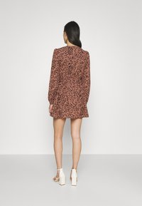 Missguided - ANIMAL WRAP PLUNGE SKATER DRESS - Day dress - rust - 2