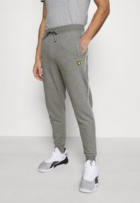 Lyle & Scott - WITH CONTRAST PIPING - Träningsbyxor - mid grey marl - 0