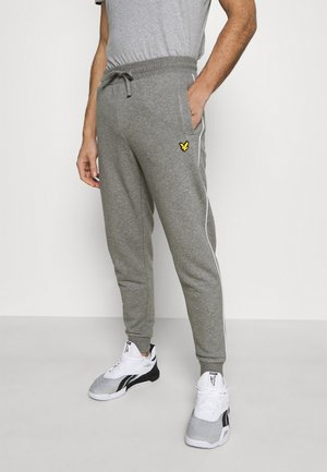WITH CONTRAST PIPING - Tracksuit bottoms - mid grey marl