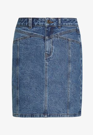 PCAURA CUTLINE SKIRT - Denim skirt - dark blue denim