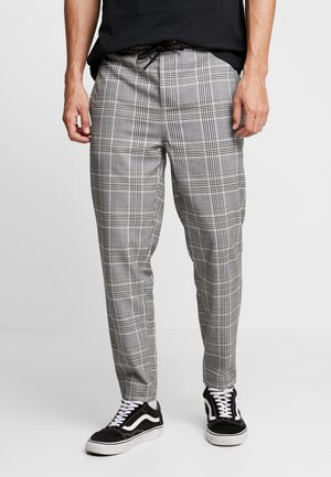 CROPPED COMFORT GLENCHECK PANTS - Trousers - white/black