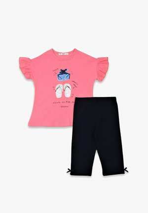T-SHIRT AND LEGGINGS SET  - Legíny - neon pink