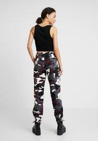Urban Classics - LADIES HIGH WAIST CAMO CARGO PANTS - Trousers - wine - 2