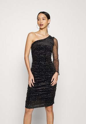 COSTELLO ONE SHOULDER GLITTER BODYCON DRESS - Juhlamekko - black