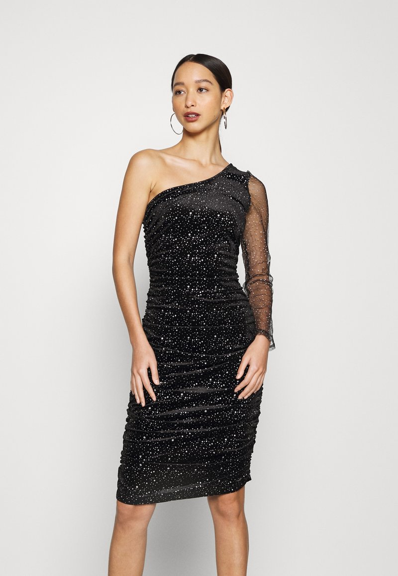 Missguided - COSTELLO ONE SHOULDER GLITTER BODYCON DRESS - Cocktail dress / Party dress - black