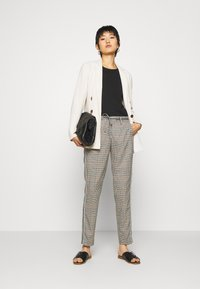 Opus - MORIEL MIXED CHECK - Trousers - sandshell - 1