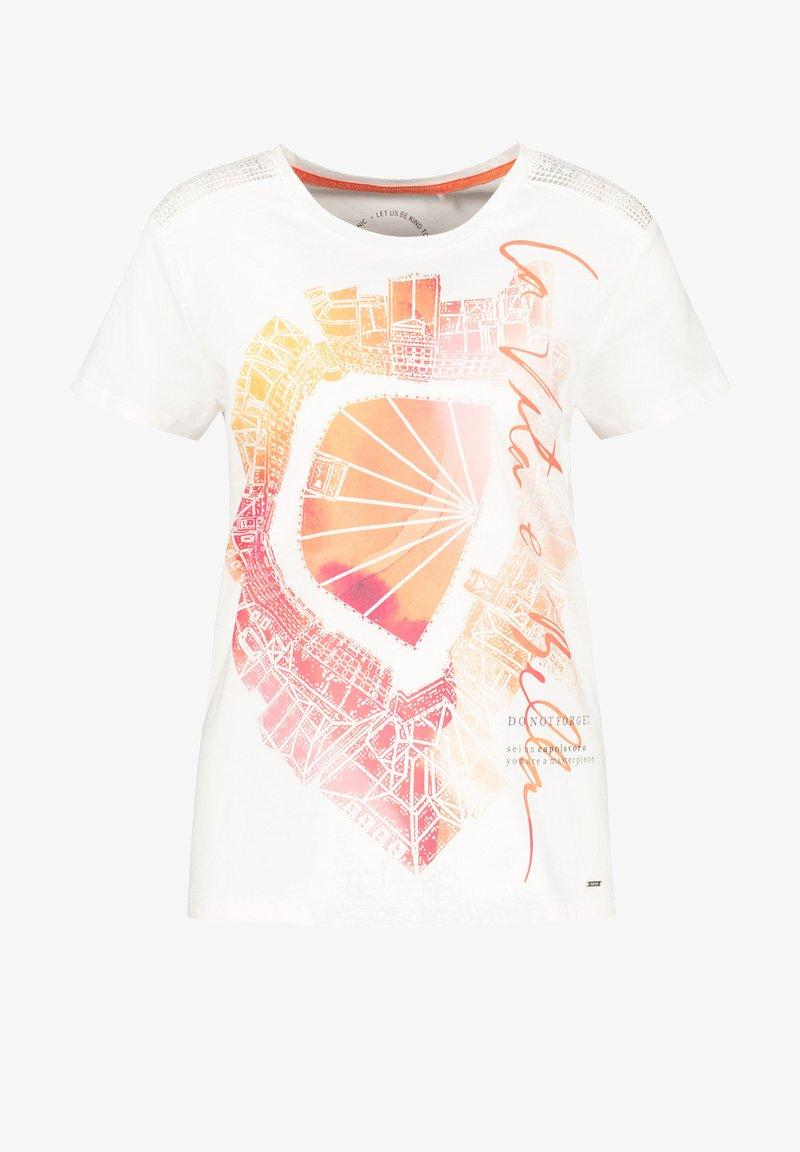 Taifun - Camiseta estampada - offwhite gemustert
