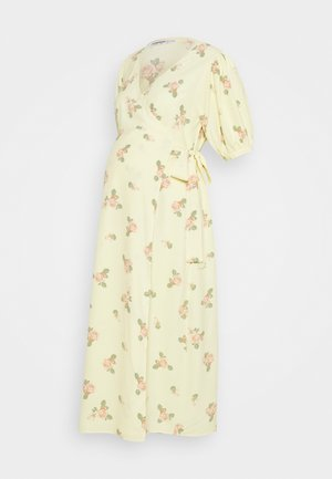 WRAP AROUND DRESSES WITH TIE DETAIL - Jerseykjole - yellow/pink rose