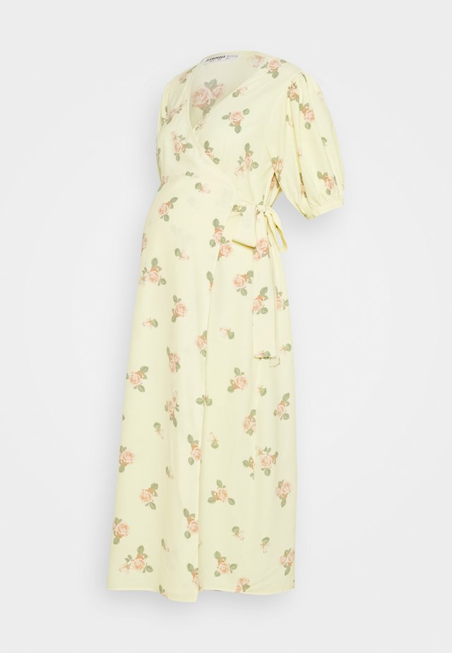 WRAP AROUND DRESSES WITH TIE DETAIL - Jerseyjurk - yellow/pink rose